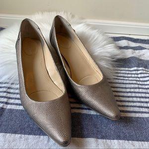 Calvin Klein silver snake skin short pointed heels